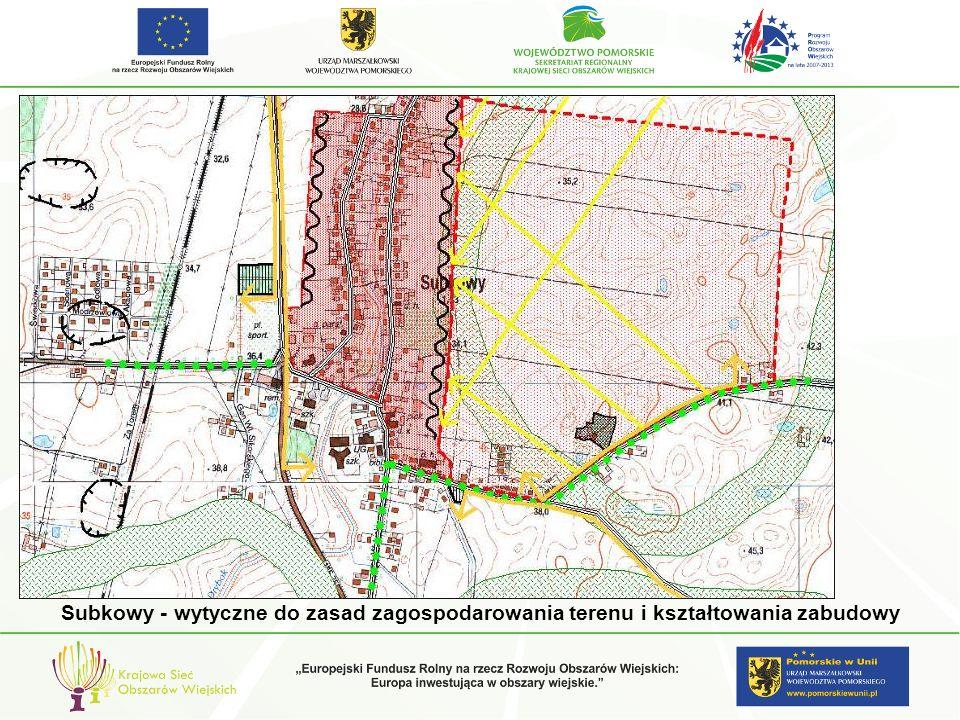 Subkowy - wytyczne do zasad zagospodarowania terenu i kształtowania zabudowy