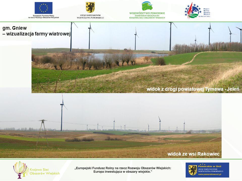 gm. Gniew – wizualizacja farmy wiatrowej. widok z drogi powiatowej Tymawa - Jeleń.