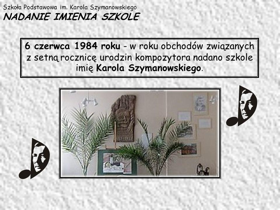 Szkoła Podstawowa im. Karola Szymanowskiego NADANIE IMIENIA SZKOLE