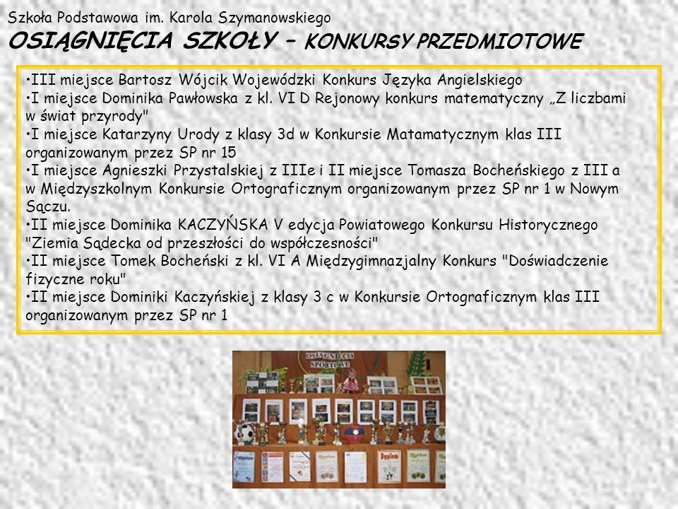 Szkoła Podstawowa im. Karola Szymanowskiego OSIĄGNIĘCIA SZKOŁY – KONKURSY PRZEDMIOTOWE