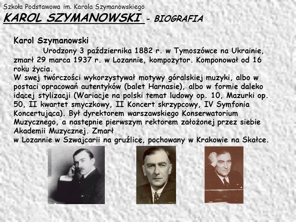 Szkoła Podstawowa im. Karola Szymanowskiego KAROL SZYMANOWSKI - BIOGRAFIA