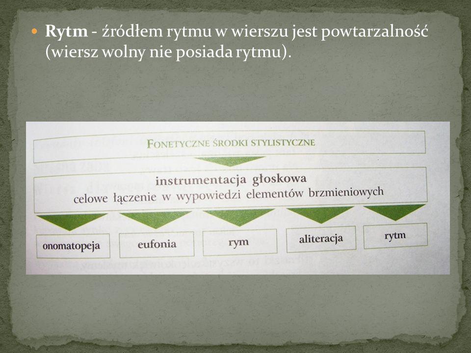 Rytm - źródłem rytmu w wierszu jest powtarzalność (wiersz wolny nie posiada rytmu).