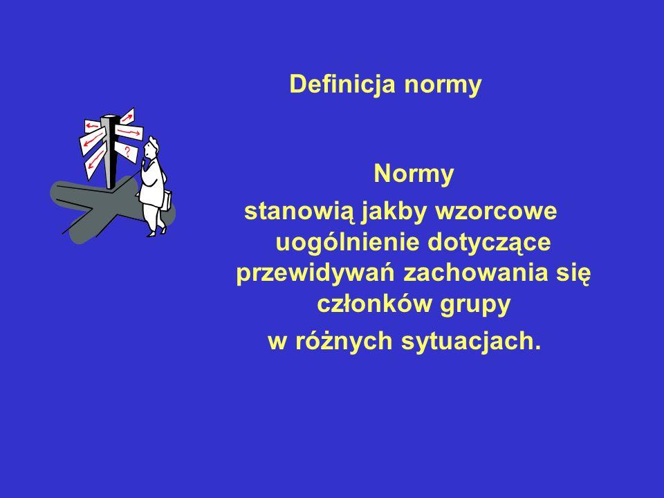 Definicja normy Normy. stanowią jakby wzorcowe uogólnienie dotyczące przewidywań zachowania się członków grupy.