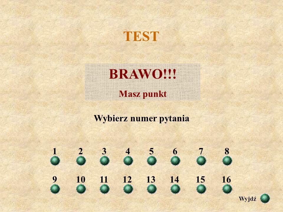 TEST BRAWO!!! Masz punkt Wybierz numer pytania 1 2 3 4 5 6 7 8