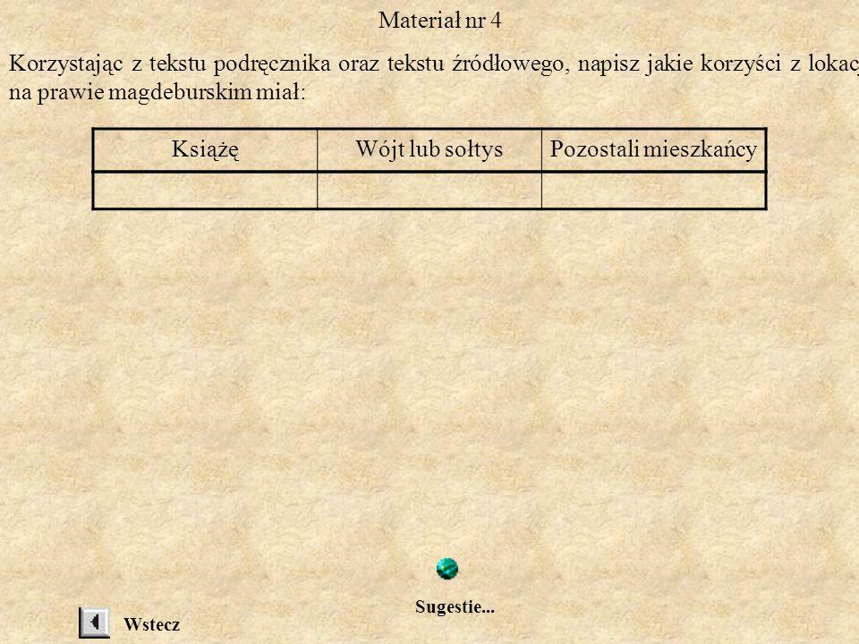 Materiał nr 4 Korzystając z tekstu podręcznika oraz tekstu źródłowego, napisz jakie korzyści z lokacji na prawie magdeburskim miał: