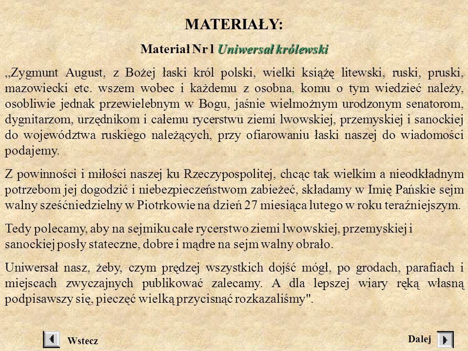 Materiał Nr l Uniwersał królewski