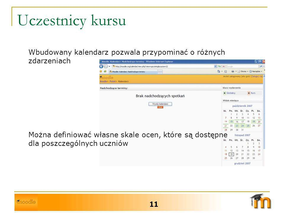Uczestnicy kursu Wbudowany kalendarz pozwala przypominać o różnych zdarzeniach.
