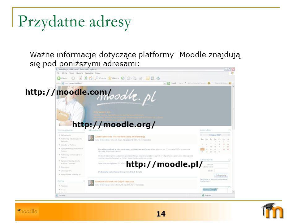 Przydatne adresy Ważne informacje dotyczące platformy Moodle znajdują się pod poniższymi adresami: