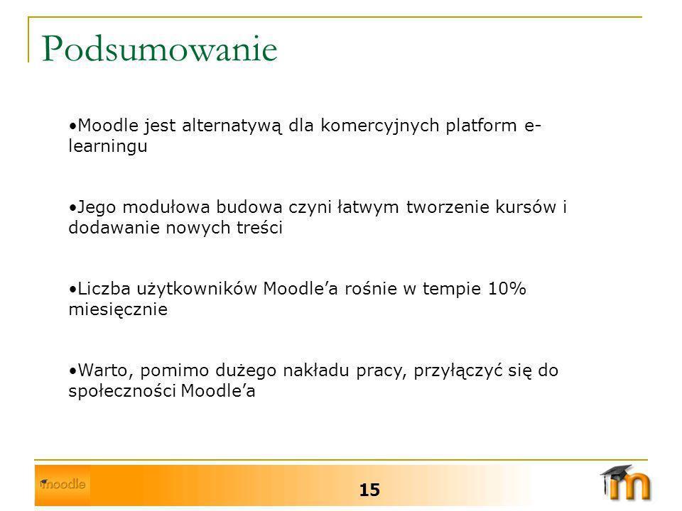Podsumowanie Moodle jest alternatywą dla komercyjnych platform e-learningu.
