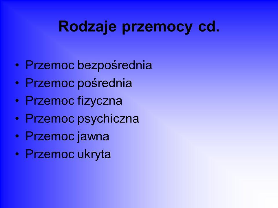 Rodzaje przemocy cd. Przemoc bezpośrednia Przemoc pośrednia
