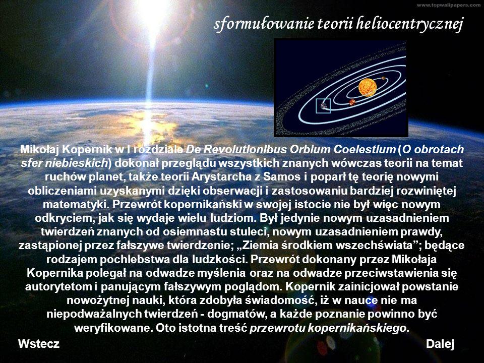sformułowanie teorii heliocentrycznej