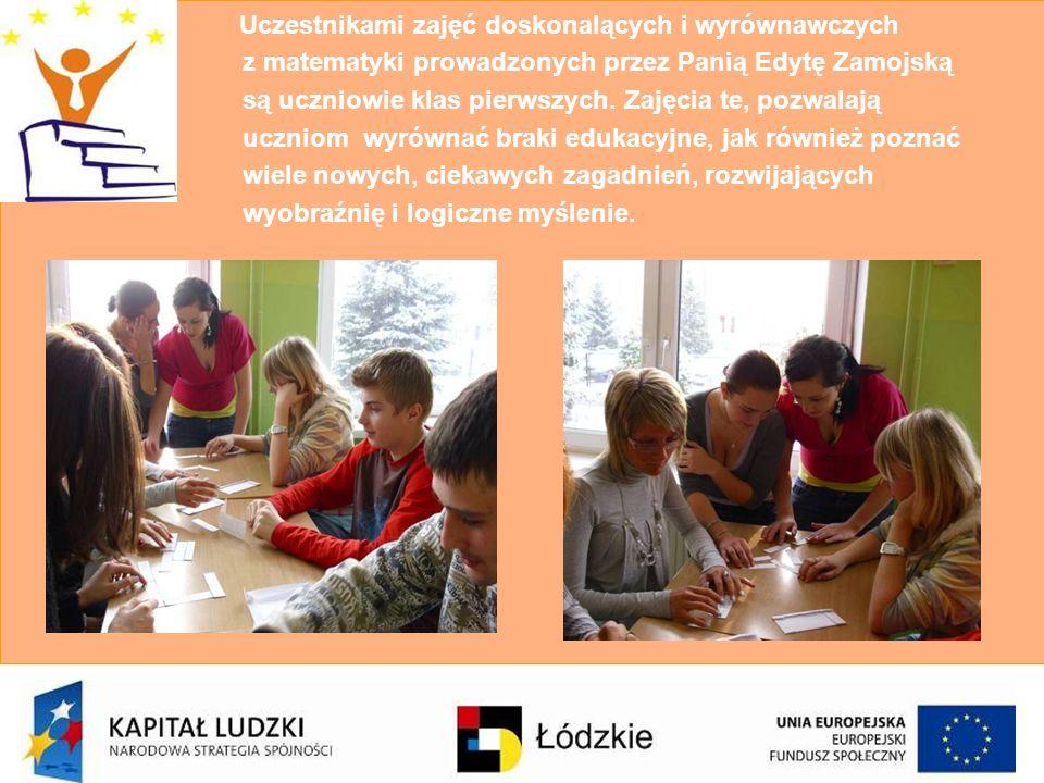 Uczestnikami zajęć doskonalących i wyrównawczych z matematyki prowadzonych przez Panią Edytę Zamojską są uczniowie klas pierwszych.