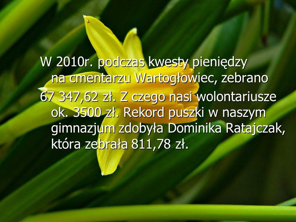 ` W 2010r. podczas kwesty pieniędzy na cmentarzu Wartogłowiec, zebrano