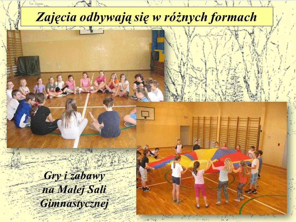 Zajęcia odbywają się w różnych formach na Małej Sali Gimnastycznej