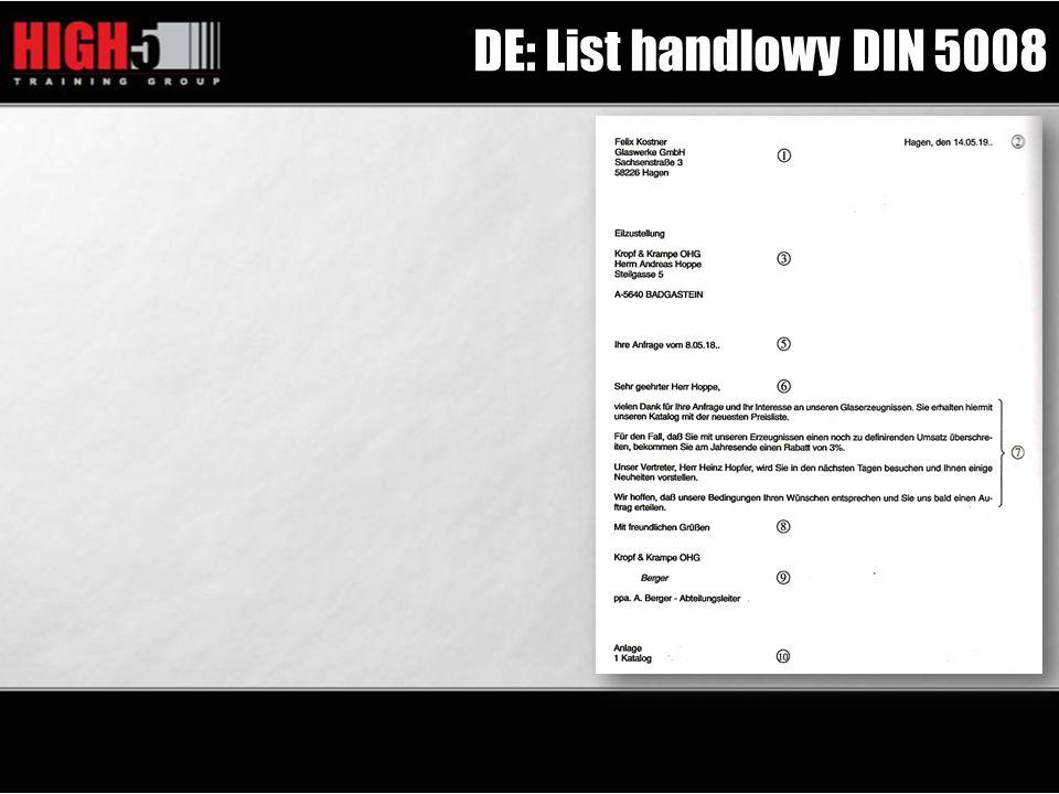 DE: List handlowy DIN 5008