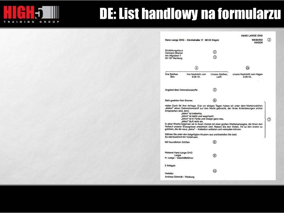 DE: List handlowy na formularzu