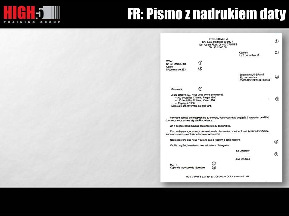 FR: Pismo z nadrukiem daty