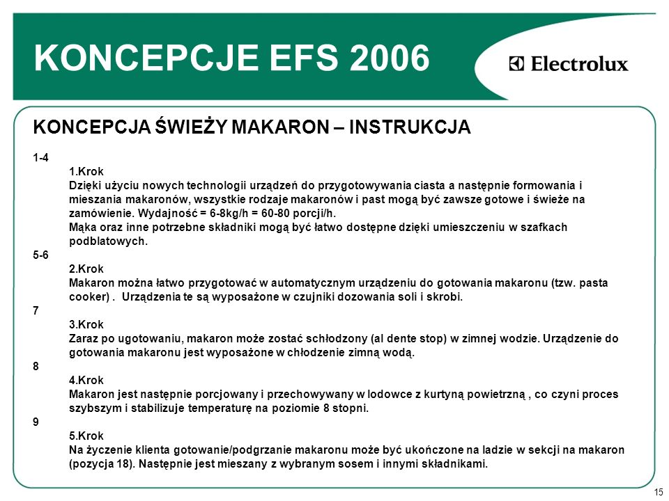 KONCEPCJE EFS 2006 KONCEPCJA ŚWIEŻY MAKARON – INSTRUKCJA 1-4 1.Krok