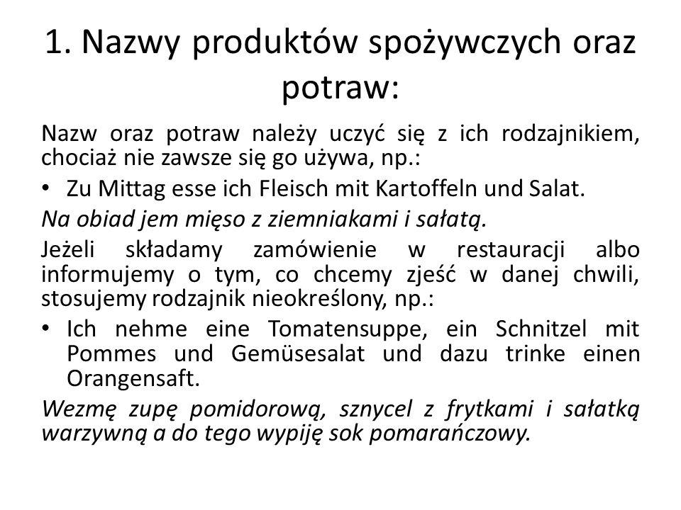1. Nazwy produktów spożywczych oraz potraw: