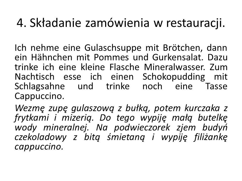 4. Składanie zamówienia w restauracji.