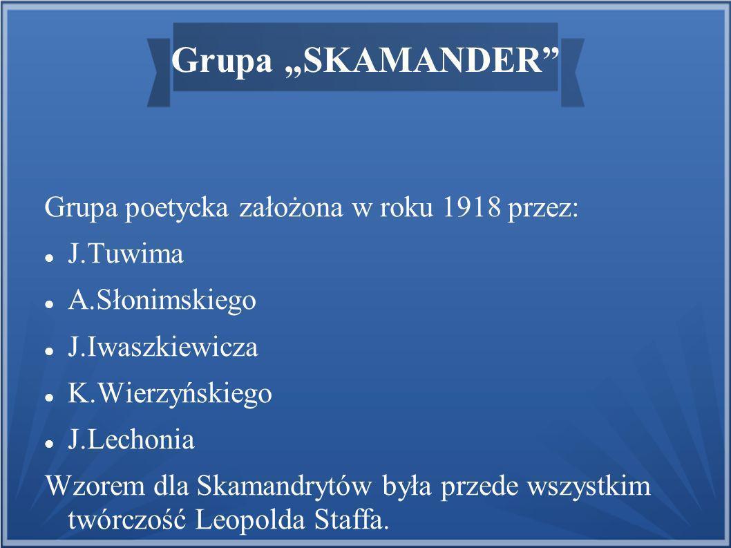 """Grupa """"SKAMANDER Grupa poetycka założona w roku 1918 przez: J.Tuwima"""