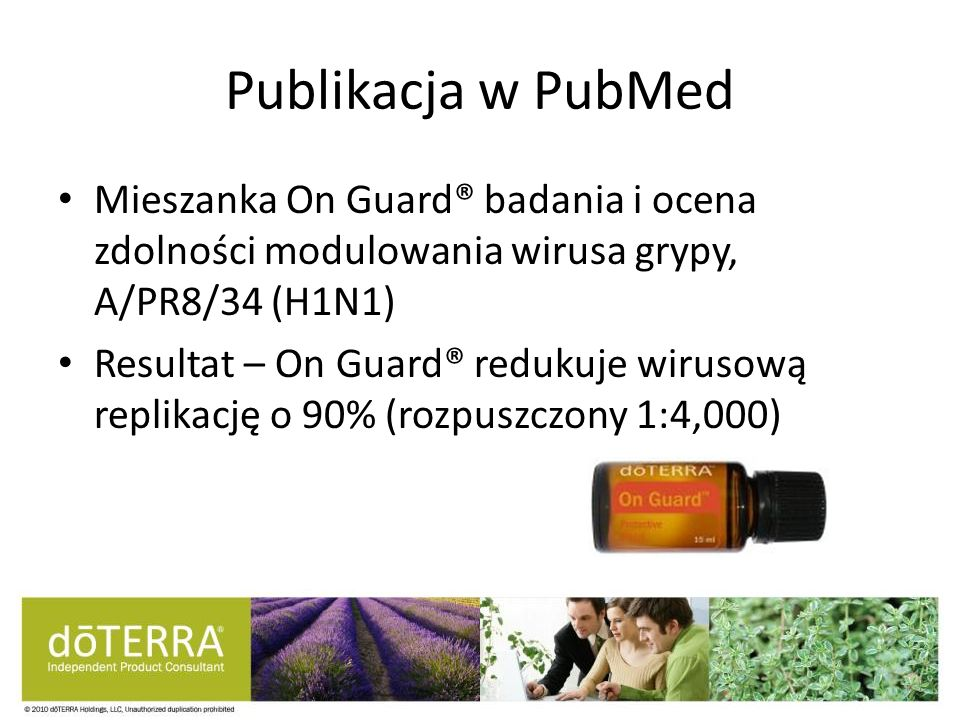 Publikacja w PubMed Mieszanka On Guard® badania i ocena zdolności modulowania wirusa grypy, A/PR8/34 (H1N1)
