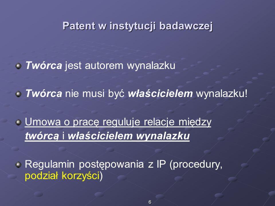 Patent w instytucji badawczej