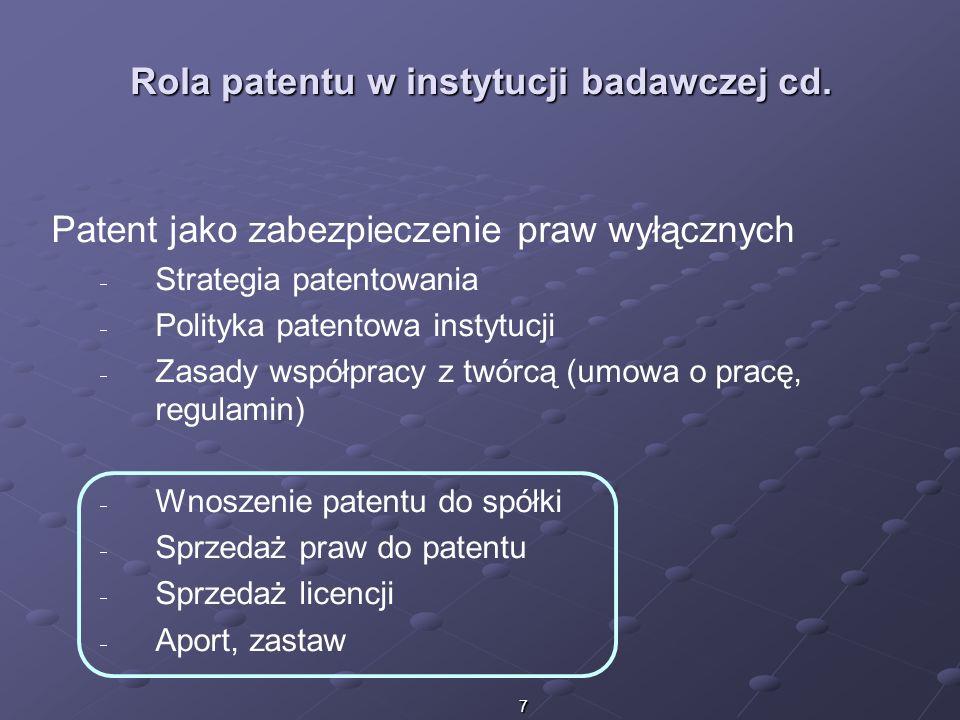 Rola patentu w instytucji badawczej cd.