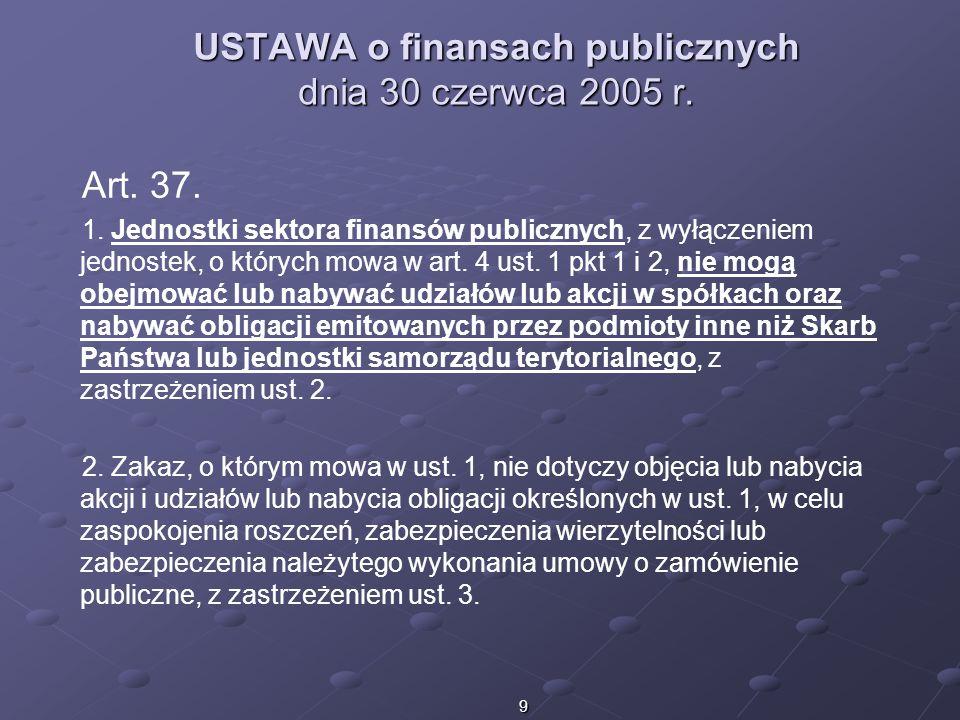 USTAWA o finansach publicznych dnia 30 czerwca 2005 r.