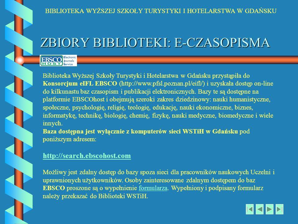 ZBIORY BIBLIOTEKI: E-CZASOPISMA