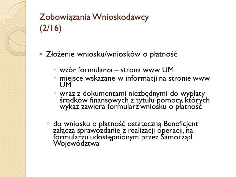 Zobowiązania Wnioskodawcy (2/16)