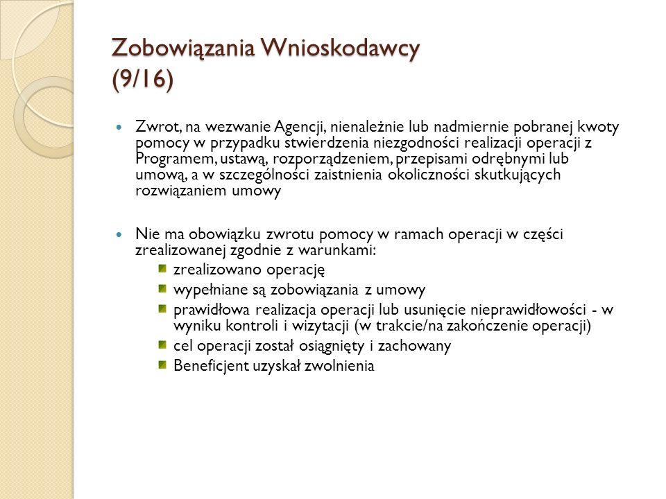 Zobowiązania Wnioskodawcy (9/16)