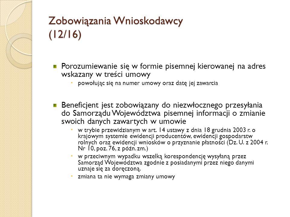 Zobowiązania Wnioskodawcy (12/16)