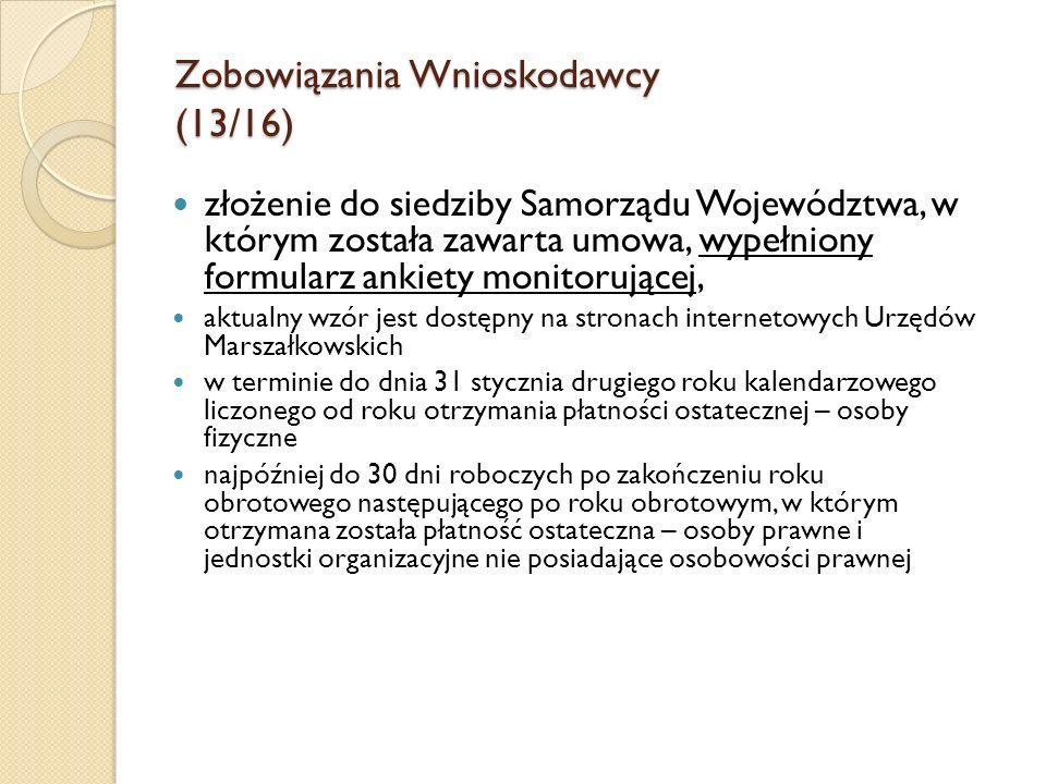 Zobowiązania Wnioskodawcy (13/16)