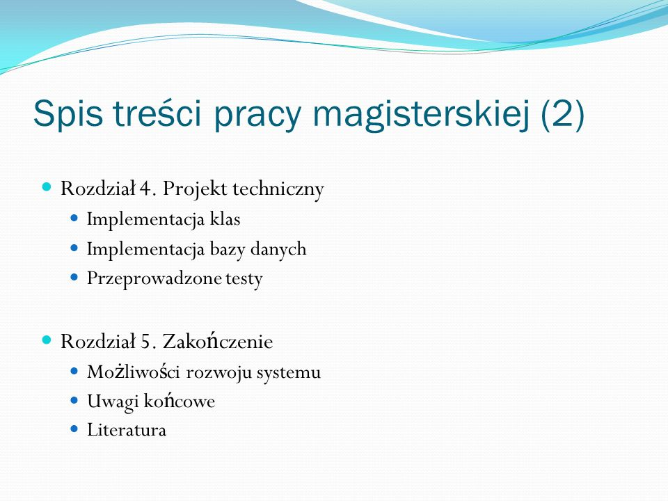 Spis treści pracy magisterskiej (2)