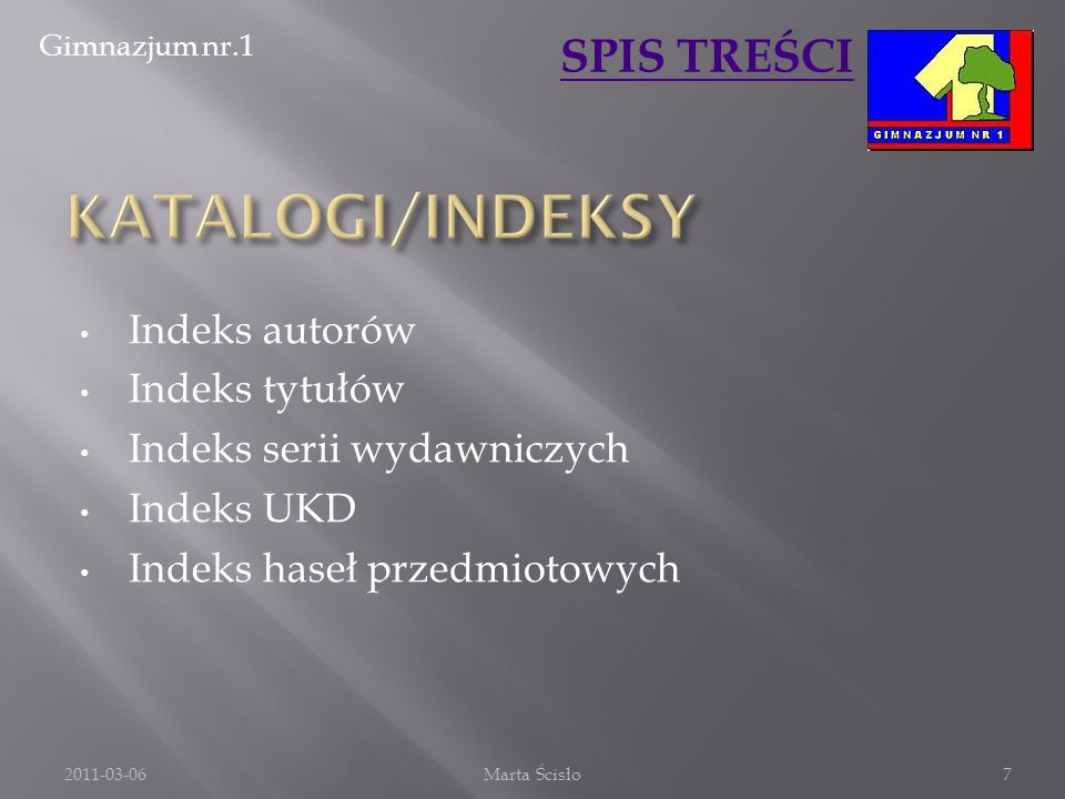 KATALOGI/INDEKSY Indeks autorów Indeks tytułów