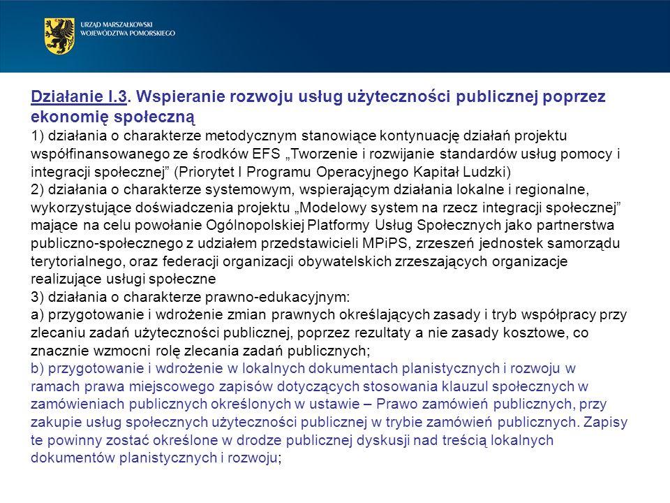Działanie I.3. Wspieranie rozwoju usług użyteczności publicznej poprzez ekonomię społeczną