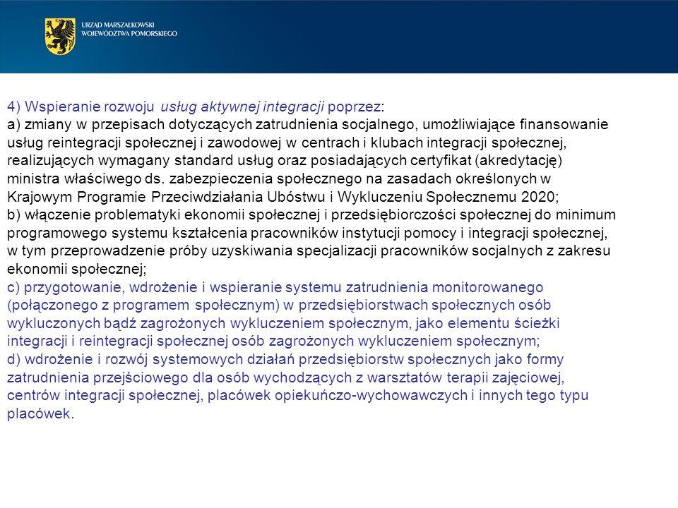 4) Wspieranie rozwoju usług aktywnej integracji poprzez: