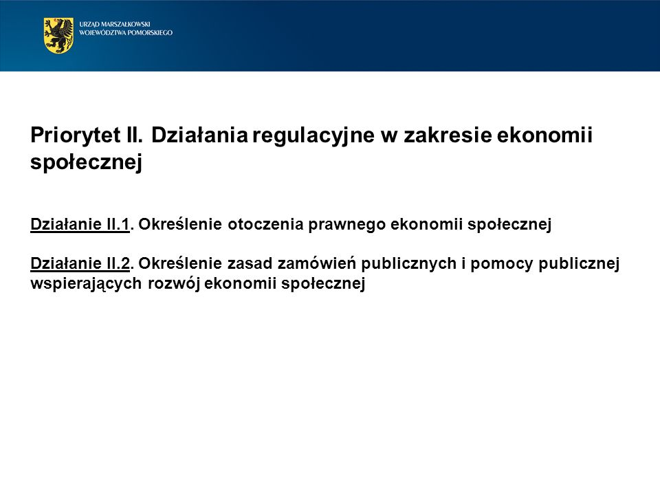 Priorytet II. Działania regulacyjne w zakresie ekonomii społecznej