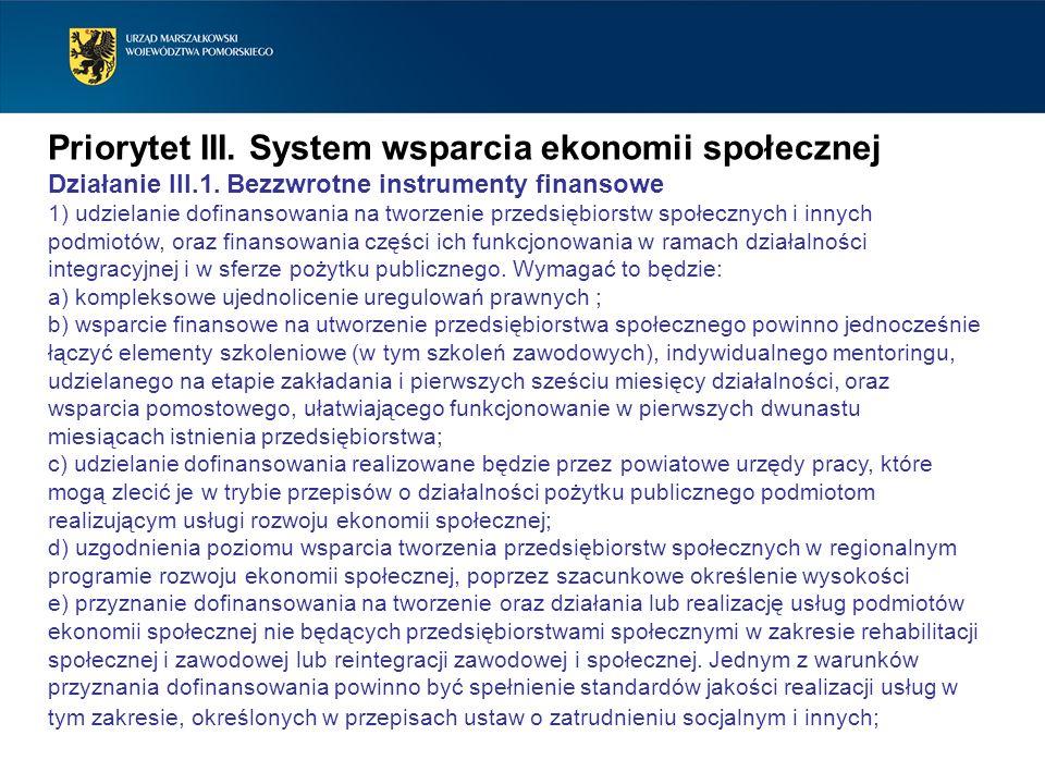 Priorytet III. System wsparcia ekonomii społecznej