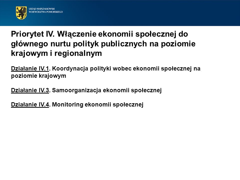 Priorytet IV. Włączenie ekonomii społecznej do głównego nurtu polityk publicznych na poziomie krajowym i regionalnym