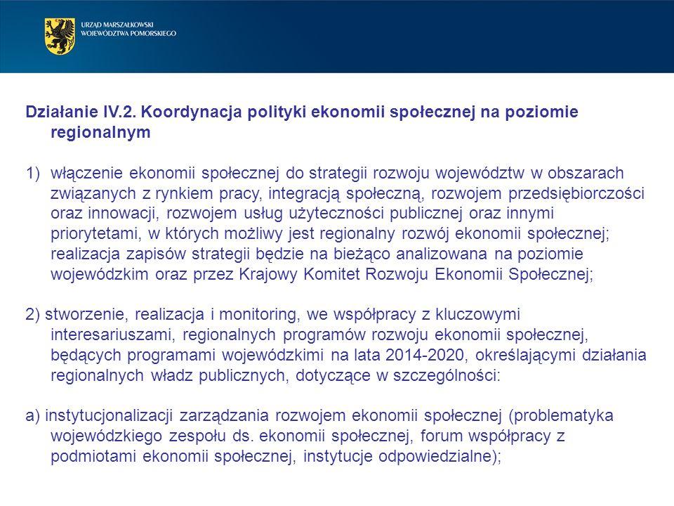 Działanie IV.2. Koordynacja polityki ekonomii społecznej na poziomie regionalnym