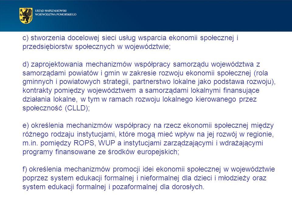 c) stworzenia docelowej sieci usług wsparcia ekonomii społecznej i przedsiębiorstw społecznych w województwie;