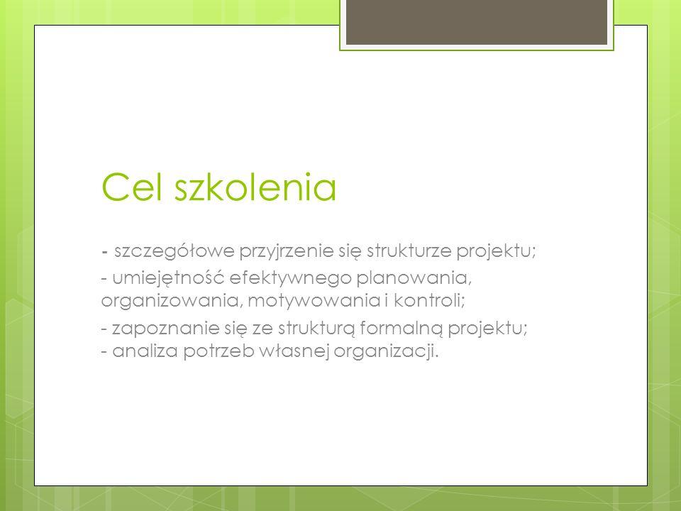 Cel szkolenia - szczegółowe przyjrzenie się strukturze projektu;
