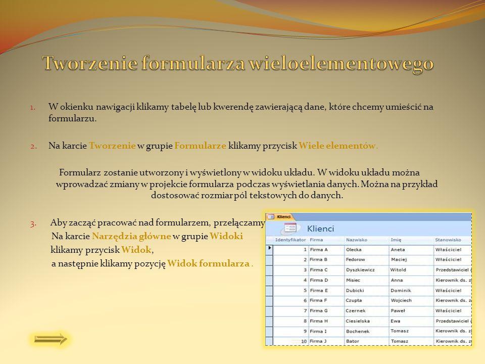 Tworzenie formularza wieloelementowego