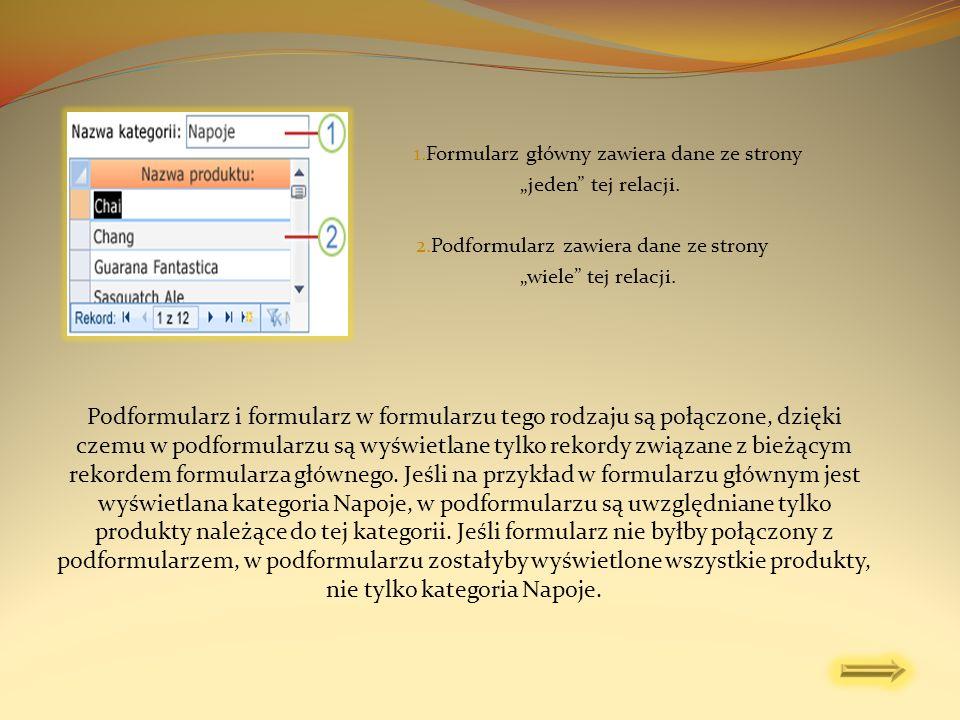 1.Formularz główny zawiera dane ze strony