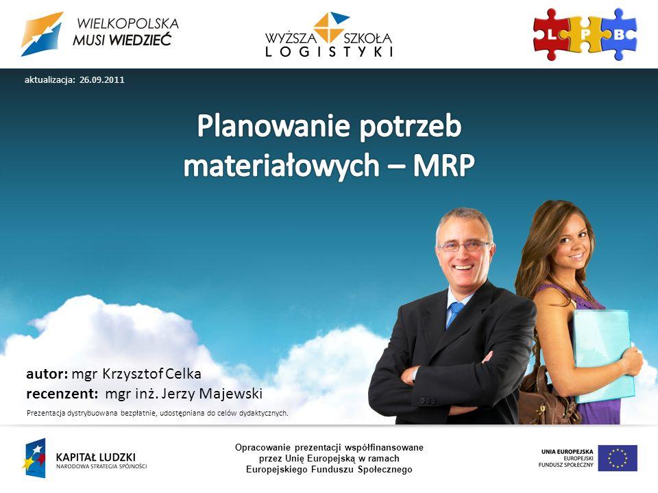 Planowanie potrzeb materiałowych – MRP autor: mgr Krzysztof Celka