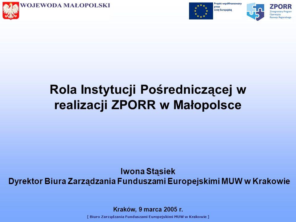 Rola Instytucji Pośredniczącej w realizacji ZPORR w Małopolsce