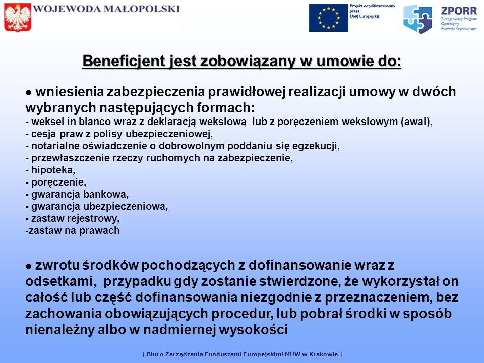 Beneficjent jest zobowiązany w umowie do: