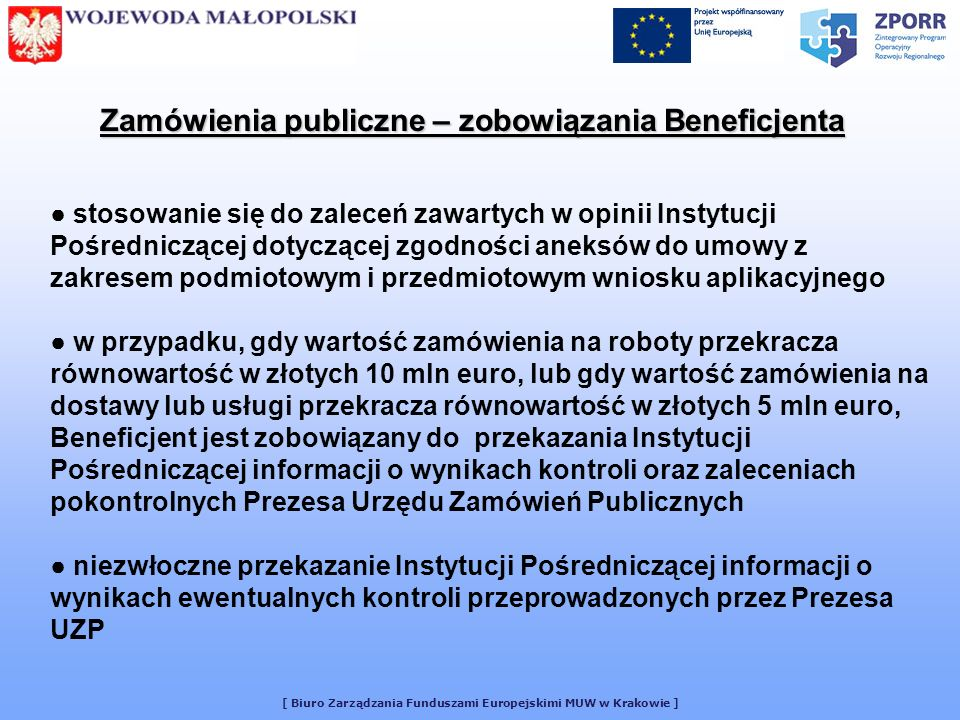 Zamówienia publiczne – zobowiązania Beneficjenta